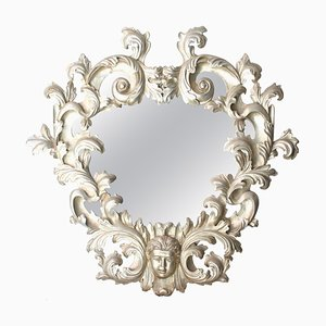 Handcrafted Oval Silver Foil Wood Mirror, 1970s