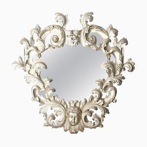 Handgefertigter ovaler silberner Spiegel mit Holzrahmen, 1970er