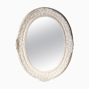 Oval Silver Hand-Carved Wooden Mirror, Spain, 1970s