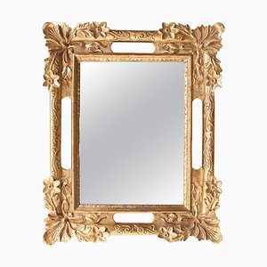 Rectangular Gold Hand-Carved Wooden Mirror, Spain, 1970s