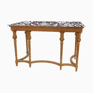 Rectangular Gold Foil Marble Spanish Console