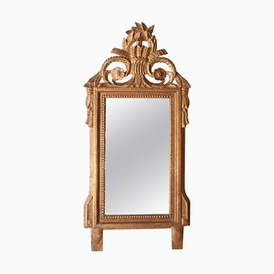 Gold Foil Hand-Carved Wooden Rectangular Mirror, 1970s