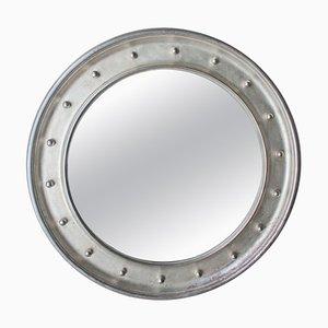 Round Silver Hand-Carved Wooden Mirror