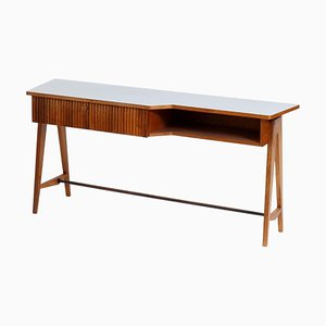 Mid-Century Rectangular Walnut Mahogany Wood Desk by Ico Parisi, Italy, 1950s