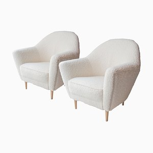 Mid-Century Beige Wool Italian Armchairs by Ico Parisi, Italy, 1950s, Set of 2