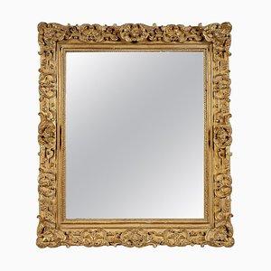 Rechteckiger handgeschnitzter goldener Holz Spiegel, Spanien, 1970er