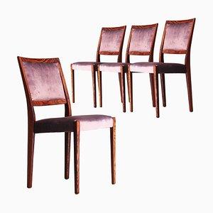 Mid-Century Brown Purple Velvet Chairs, Sweden, 1960s, Set of 4