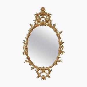 Ovaler Spiegel mit Goldfolie & handgeschnitztem Holzrahmen, 1970er