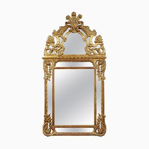 Rectangular Gold Foil Hand-Carved Wooden Mirror, 1970s