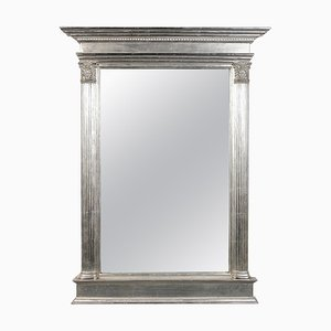 Rechteckiger silberner handgeschnitzter Spiegel mit Holzrahmen