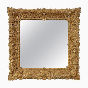 Gold Hand-Carved Wooden Square Mirror, Spain, 1970s