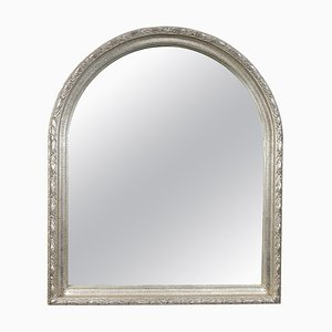 Rectangular Silver Hand-Carved Wooden Mirror, 1970s