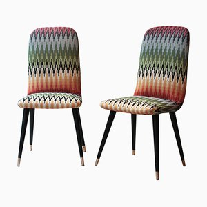 Mid-Century Multicolored Black Italian Chairs, Italy, 1950, Set of 2