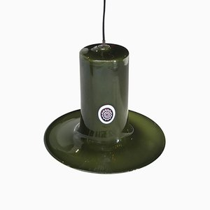 Cylindrical Green Murano Glass Italian Suspension Lamp, 1960s