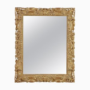 Rectangular Gold Foil Hand-Carved Wooden Mirror, 1970