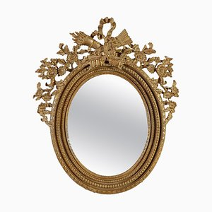 Round Gold Foil Hand-Carved Wooden Mirror, 1970