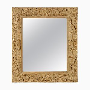 Rectangular Gold Foil Hand-Carved Wooden Mirror, 1970