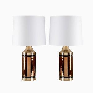 Glasierte Keramik Tischlampen von Bitossi für Bergbom, 2er Set