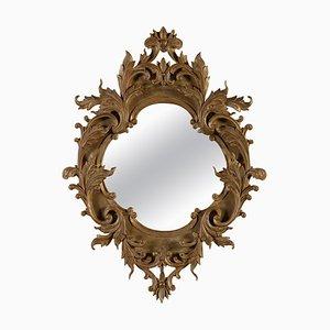 Leaf Gold Foil Hand-Carved Wooden Mirror, 1970