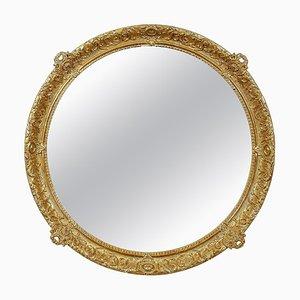 Round Gold Hand-Carved Wooden Mirror, 1970