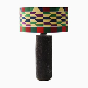 Cylindrical Black Handmade Ceramic Table Lamp by Emilio Rey, France, 1950