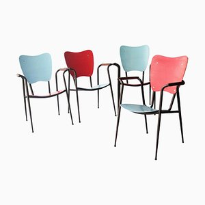 Black, Red and Blue Natural Fiber Metal Wood Italian Chairs by Doro Cundo, 1980, Set of 4