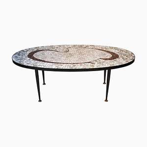 Black and Grey Vitrified Tesserae Coffee Table, Italy, 1960s