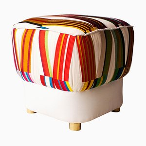 Mid-Century Multicolored and White Brass Italian Pouf, 1950s