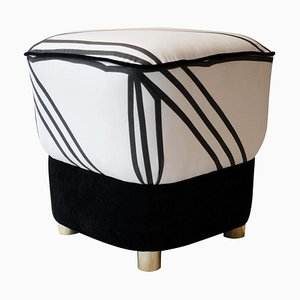 Mid-Century Black and White Brass Italian Pouf, 1950s