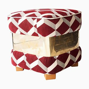 Mid-Century White and Burgundy Brass Italian Pouf, 1950s