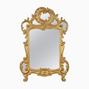 Gold Foil Hand-Carved Wooden Mirror, 1970s