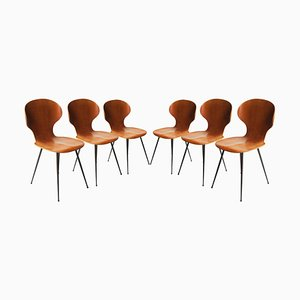 Mid-Century Teak Metal and Black Chairs by Carlo Ratti, Italy, 1950s, Set of 6