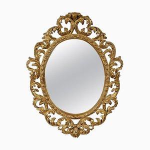 Specchio in foglia intagliato a mano in legno dorato, anni '70
