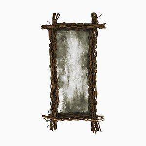 Rectangular Aged Wood Belgian Mirror, 1970s