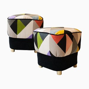 Mid-Century Multicolored and Black Brass Italian Pouf, 1950s