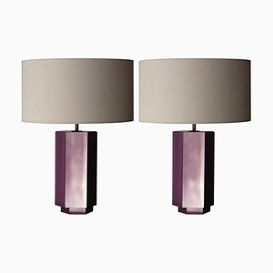 Hexagonal Pink Bakelite Table Lamps by Emilio Rey, France, 1950s, Set of 2