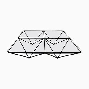 Viereckiger Mid-Century Couchtisch aus Schwarzem Metall und Glas von Paolo Piva, 1970er