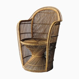 Mid-Century Armchair of Natural Wicker Fiber, France, 1970s