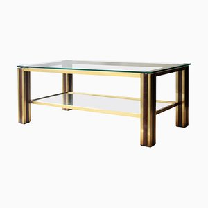Mid-Century Table with Brass and Wood Structure, France, 1970s