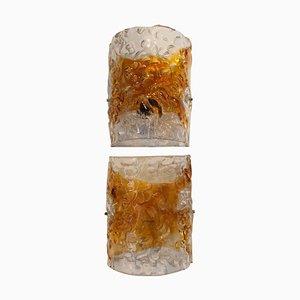 Braune Mid-Century Murano Glas Wandlampen, Italien, 1950er, 2er Set