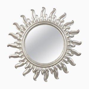 Mid-Century Spiegel aus Silber in Badewanne-Holz-Optik, 1960er