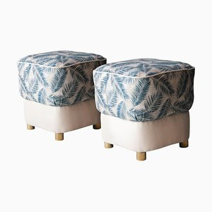 Mid-Century Blue and White Grey Brass Italian Pouf, 1950s