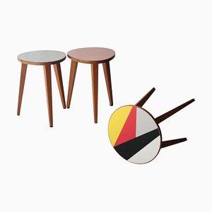 Mid-Century Oak Multicolored Side Tables, Czech Republic, 1960s, Set of 3