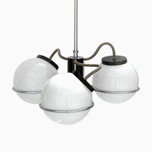 Mid-Century Chromed Steel and Glass Suspension Lamp by Gino Sarfatti, Italy, 1970s