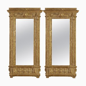 Rectangular Gold Hand-Carved Wooden Mirror, Spain, 1970s, Set of 2