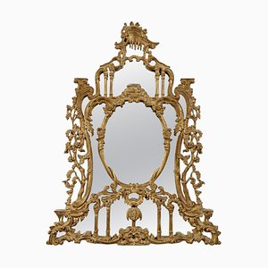 Rectangular Handcrafted Gold Foil Wood Mirror Spain, 1970s