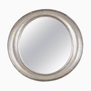 Oval Silver Hand-Carved Wooden Mirror