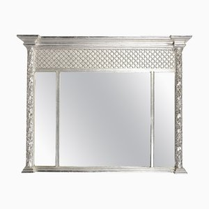 Rectangular Triptych Silver Hand-Carved Wooden Mirror, 1970s