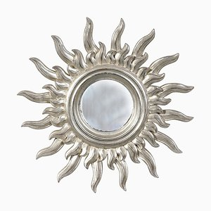 Mid-Century Sun Silver Wood French Mirror, 1960s
