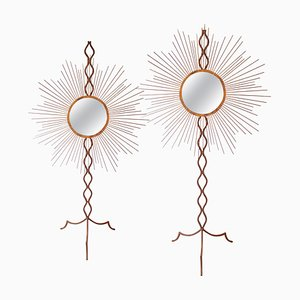 Mid-Century Iron and Gold Patina Sun Shape Mirrors, France, 1940s, Set of 2